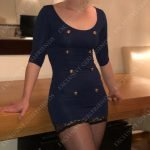 Slim independent escort, tight blue dress