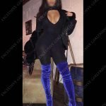 Neena, catsuit and electric blue boots