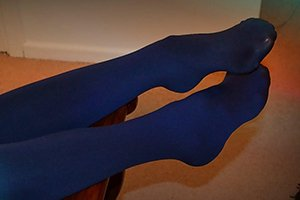 Blue nylons accentuating shapely feet