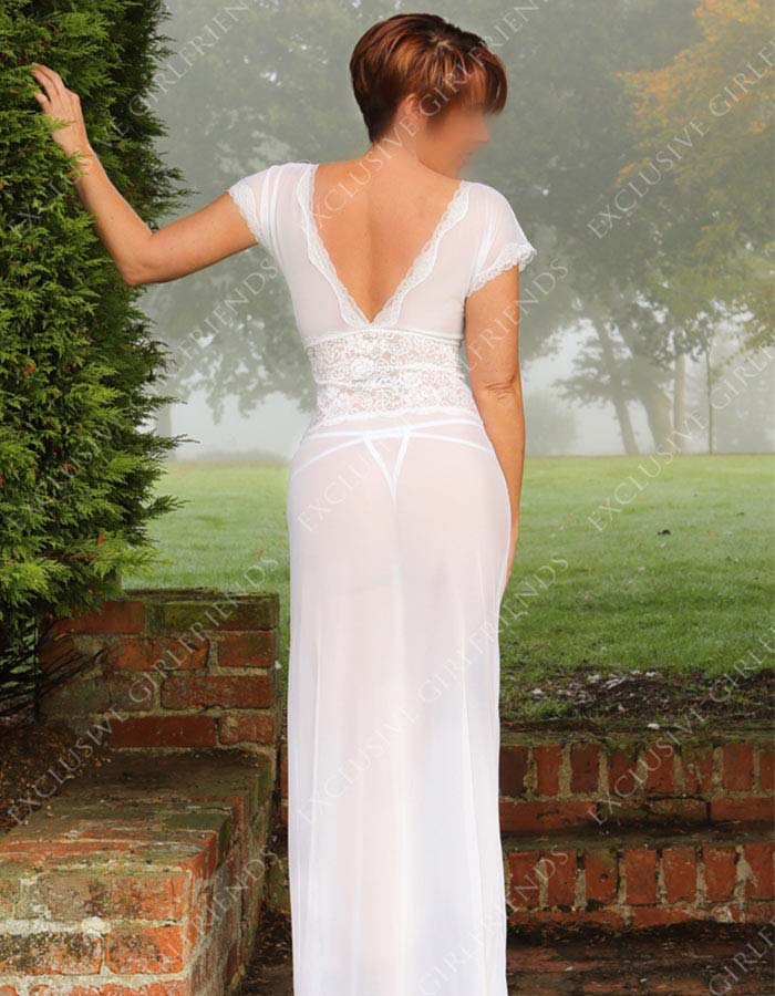 Early morning vision Lucy in opaque white dress